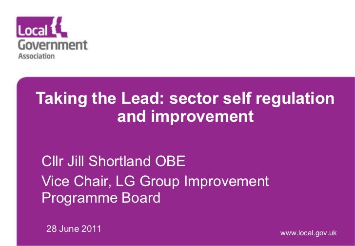 Taking the Lead: sector self regulation and improvement Cllr Jill Shortland OBE Vice Chair, LG Group Improvement Programme...