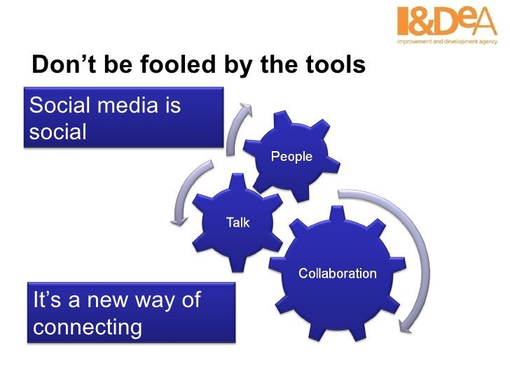 Don't be fooled by the tools Social media is social  It's a new way of connecting