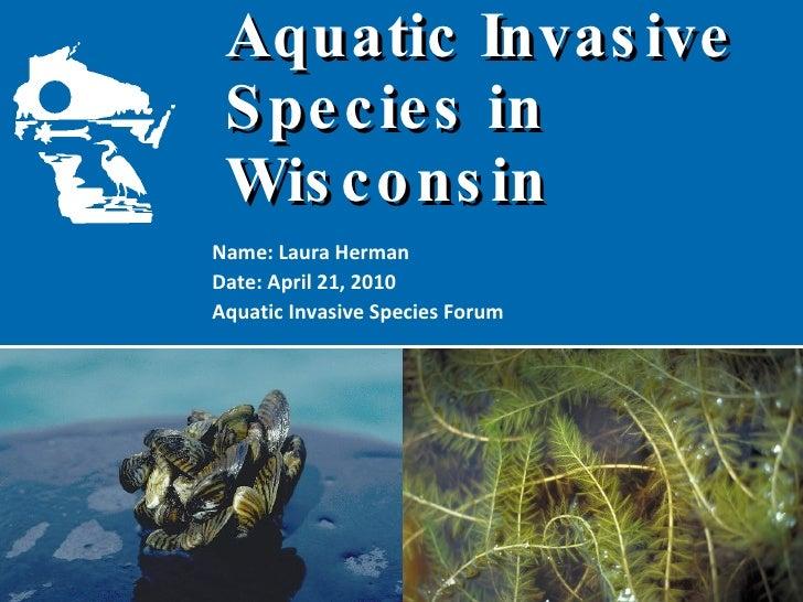 Aquatic Invasive  Species in Wisconsin Name: Laura Herman Date: April 21, 2010 Aquatic Invasive Species Forum