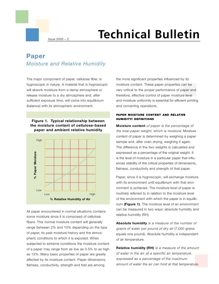 Technical Bulletin                            Issue 2005 – 2     Paper Moisture and Relative Humidity  The major component...