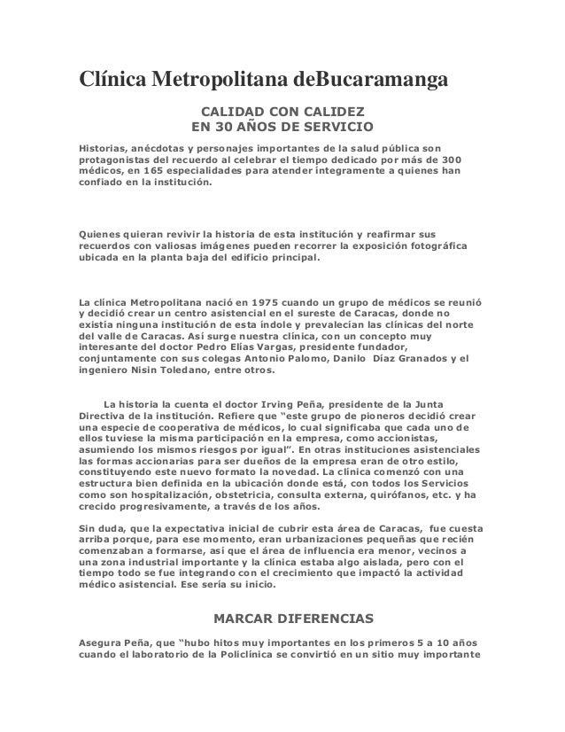 Clínica Metropolitana deBucaramanga                       CALIDAD CON CALIDEZ                      EN 30 AÑOS DE SERVICIOH...