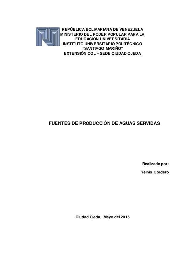 REPÚBLICA BOLIVARIANA DE VENEZUELA MINISTERIO DEL PODER POPULAR PARA LA EDUCACIÓN UNIVERSITARIA INSTITUTO UNIVERSITARIO PO...