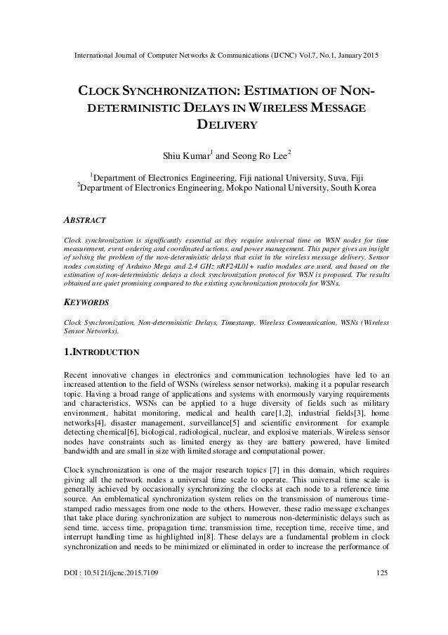 Clock synchronization estimation of non deterministic ...