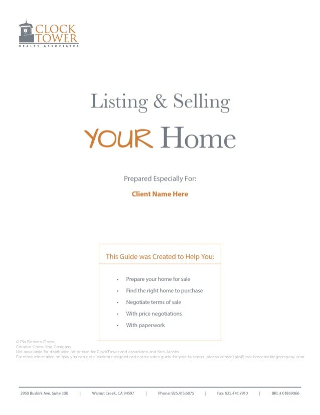 Listing & Selling  YOUR Home Prepared Especially For: Vijay & Padmini Venkatesan  This Guide was Created to Help You: •	 •...
