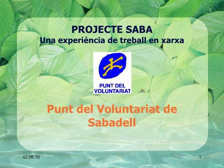 PROJECTE SABA Una experiència de treball en xarxa Punt del Voluntariat de Sabadell 02.06.10