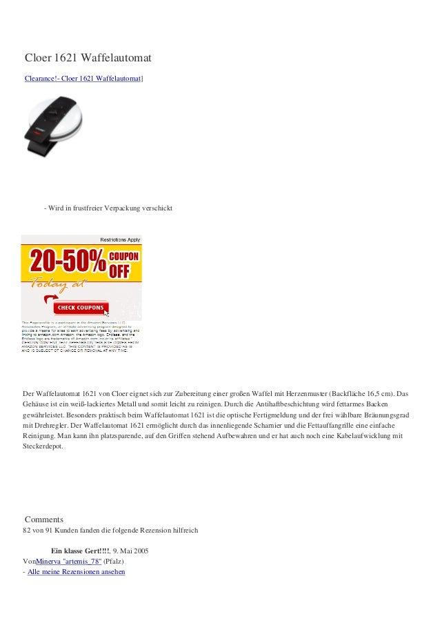 Cloer 1621 WaffelautomatClearance!- Cloer 1621 Waffelautomat]      - Wird in frustfreier Verpackung verschicktDer Waffelau...