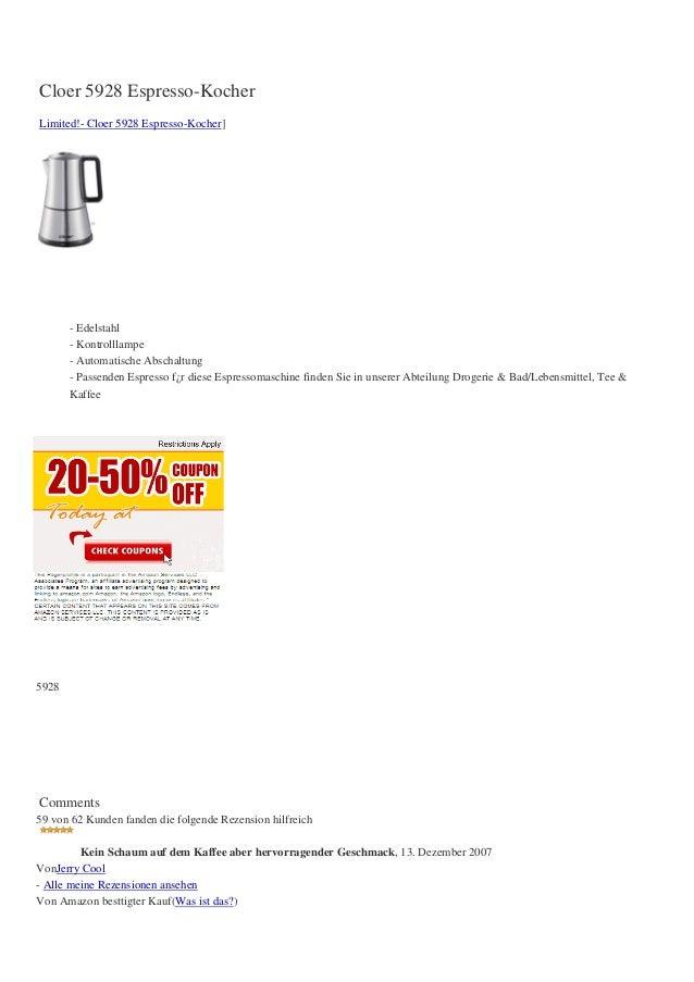 Cloer 5928 Espresso-KocherLimited!- Cloer 5928 Espresso-Kocher]       - Edelstahl       - Kontrolllampe       - Automatisc...