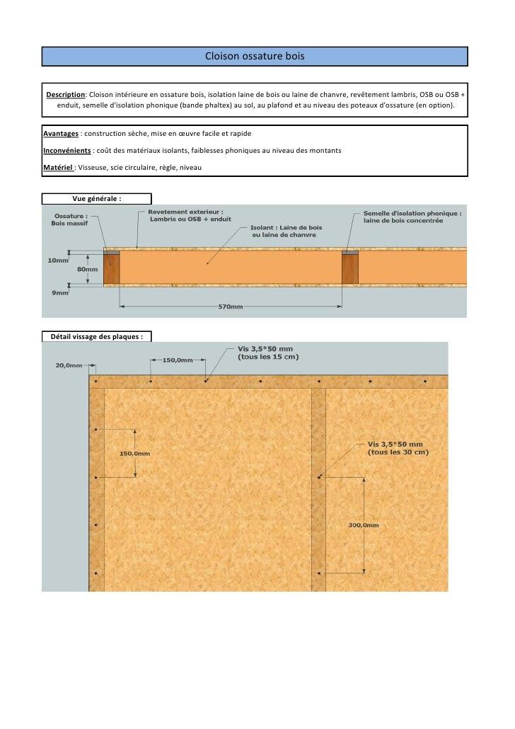 Cloison ossature boisDescription: Cloison intérieure en ossature bois, isolation laine de bois ou laine de chanvre, revête...