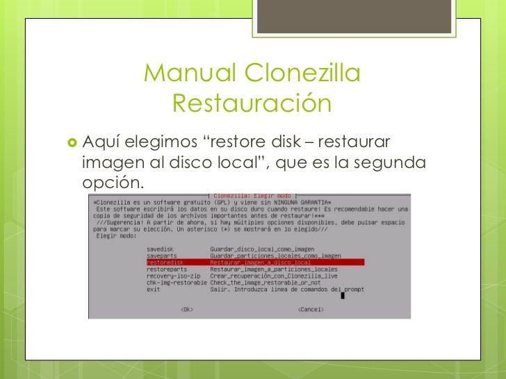 Clonezilla Manual Restore