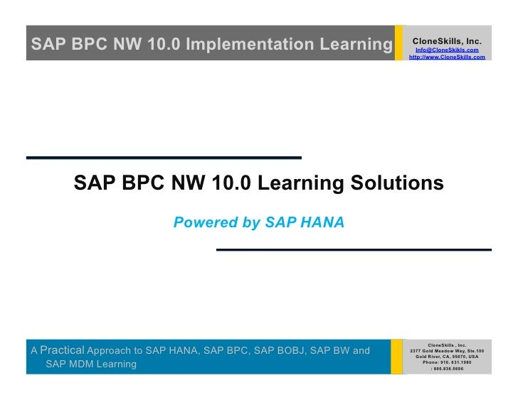 SAP BPC NW 10.0 Implementation Learning                            CloneSkills, Inc.                                      ...