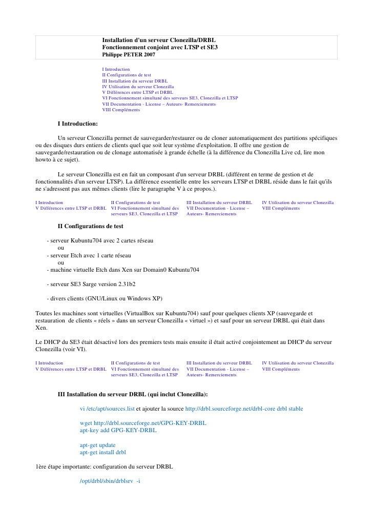 Installation dun serveur Clonezilla/DRBL                              Fonctionnement conjoint avec LTSP et SE3            ...