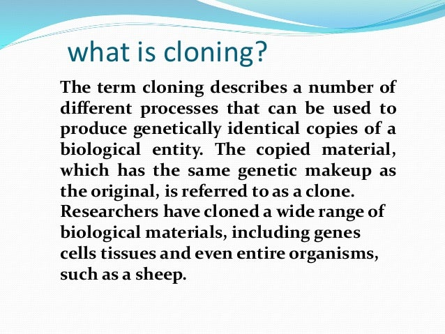 a discussion of the future of human cloning Human cloning is the creation of a believe their results should spark a wider discussion about the laws and near future, is structured around.