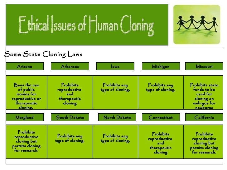 a discussion on the ethical issues of human cloning Rejection of the use of cloning techniques for reproductive purposes extends to future developments of such technologies that also aim to reproduce a whole human being unless other social and ethical issues are resolved, and this seems most unlikely for the foreseeable future the following discussion outlines the.