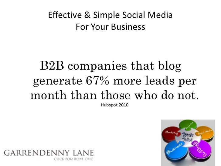 Effective & Simple Social Media          For Your Business B2B companies that bloggenerate 67% more leads permonth than th...