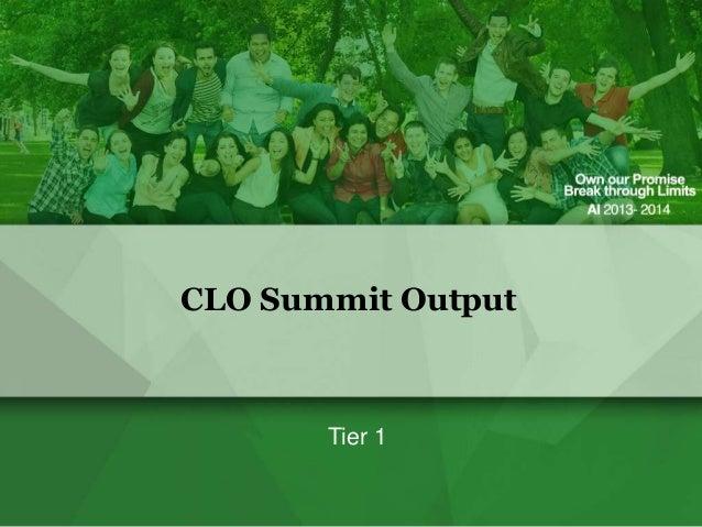 CLO Summit Output  Tier 1