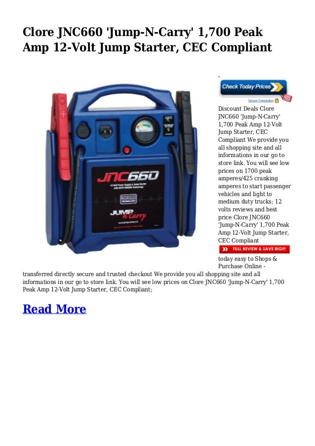 Jump N Carry Jnc660 >> Discount Deals Clore Jnc660 Jump N Carry 1 700 Peak Amp 12 Volt Jum