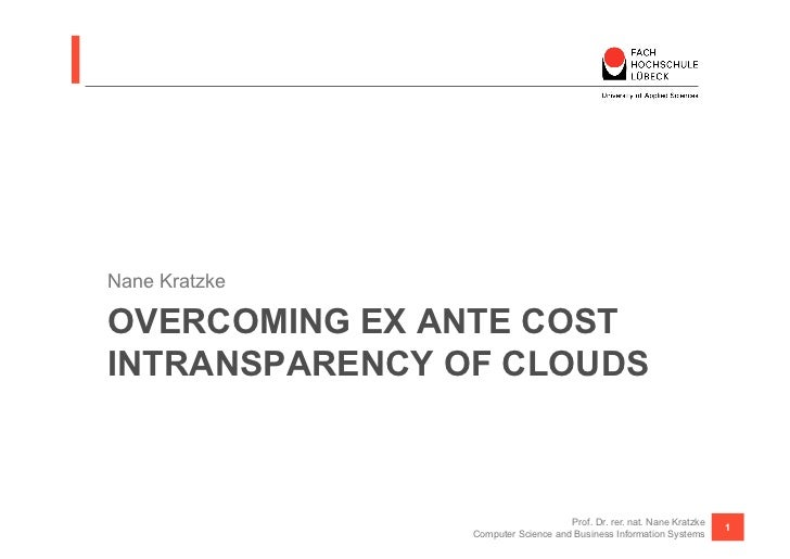 Nane KratzkeOVERCOMING EX ANTE COSTINTRANSPARENCY OF CLOUDS                                    Prof. Dr. rer. nat. Nane Kr...