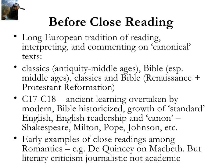 close reading - sample lecture