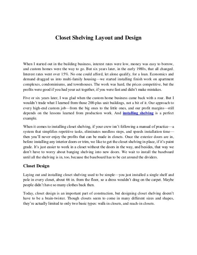 Closet Shelving Layout And DesignWhen I Started Out In The Building  Business, Interest Rates Were ...
