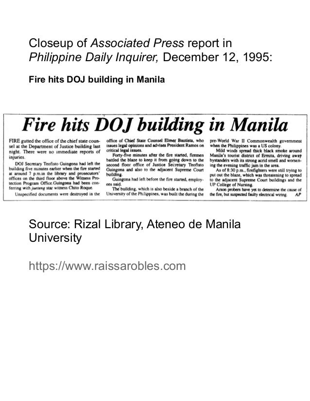 Closeup of Associated Press report in Philippine Daily Inquirer, December 12, 1995: Fire hits DOJ building in Manila Sourc...