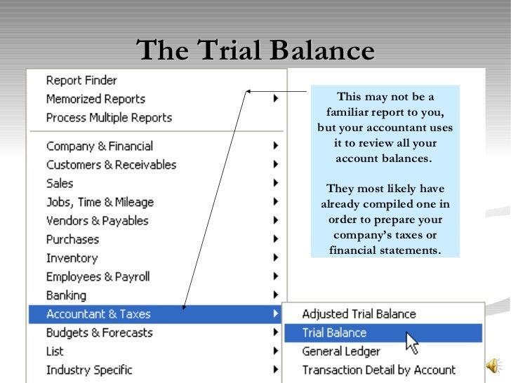 quickbooks pro trial balance