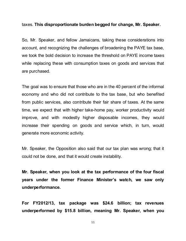 Closing Jamaica Budget Debate Presentation