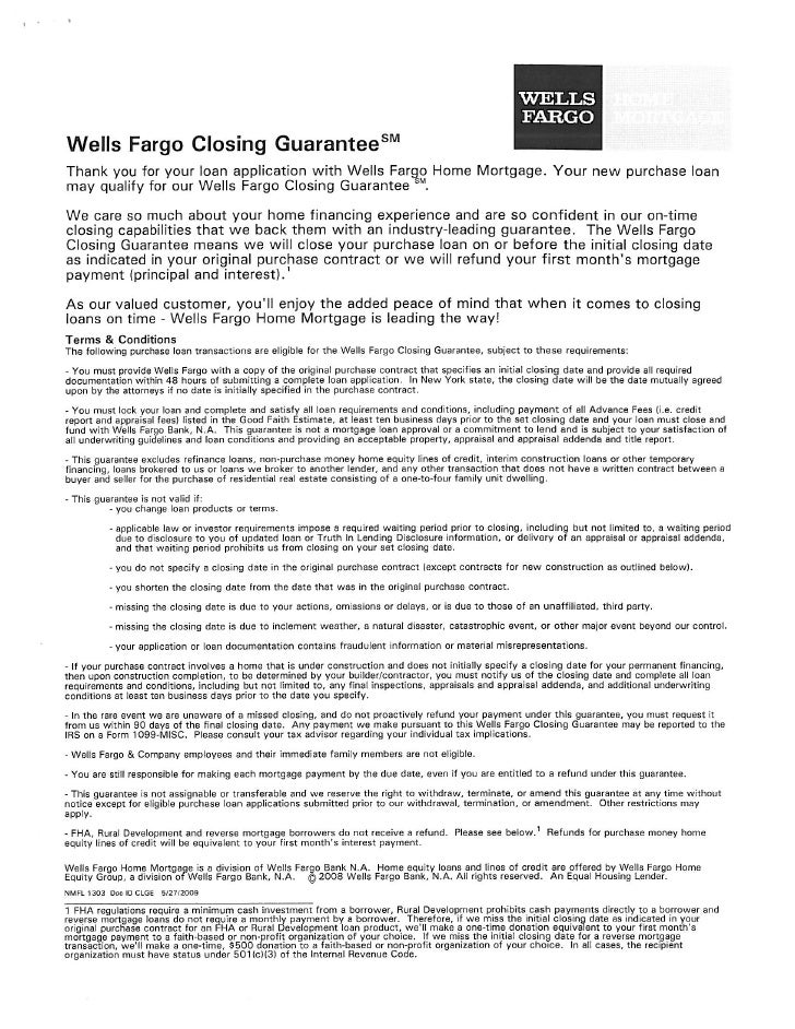 Closing Guarantee Offer by Wells Fargo
