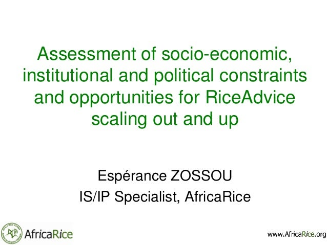 Assessment of socio-economic, institutional and political constraints and opportunities for RiceAdvice scaling out and up ...