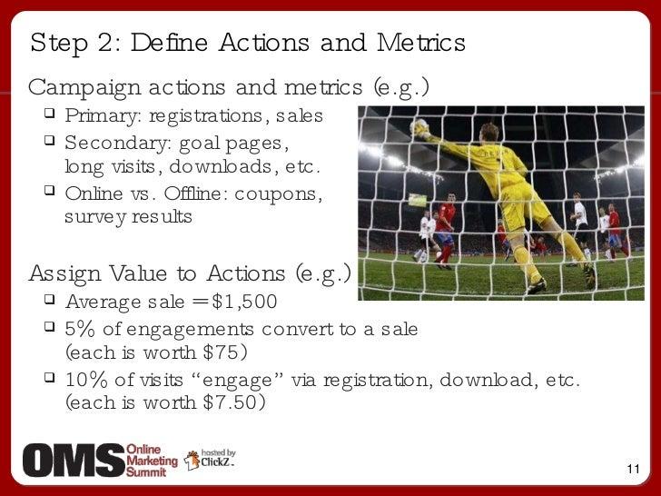 Step 2: Define Actions and Metrics <ul><li>Campaign actions and metrics (e.g.)  </li></ul><ul><ul><li>Primary: registratio...