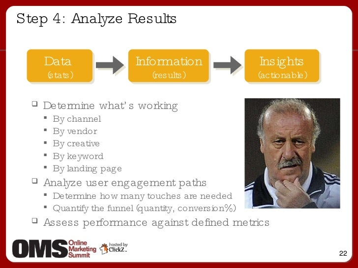 Step 4: Analyze Results Information (results) Data  (stats) Insights (actionable) <ul><ul><li>Determine what's working  </...