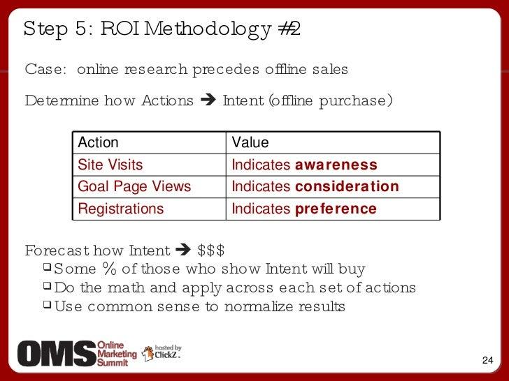 Step 5: ROI Methodology #2 <ul><li>Case:  online research precedes offline sales </li></ul><ul><li>Determine how Actions  ...