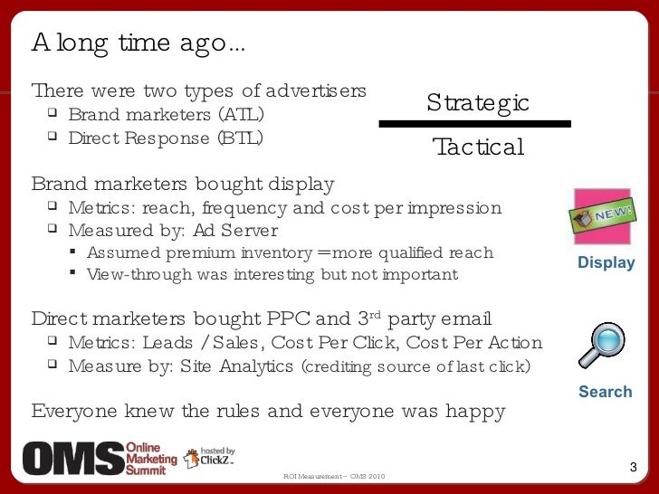 A long time ago… <ul><li>There were two types of advertisers </li></ul><ul><ul><li>Brand marketers (ATL) </li></ul></ul><u...