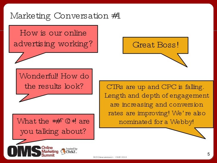 Marketing Conversation #1 How is our online advertising working? Great Boss! Wonderful! How do the results look? CTRs are ...
