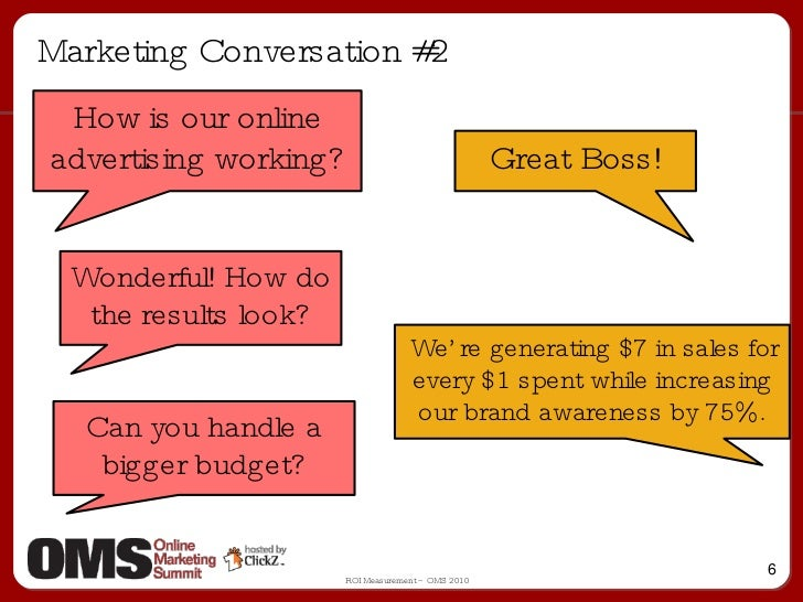 Marketing Conversation #2 How is our online advertising working? Great Boss! Wonderful! How do the results look? We're gen...