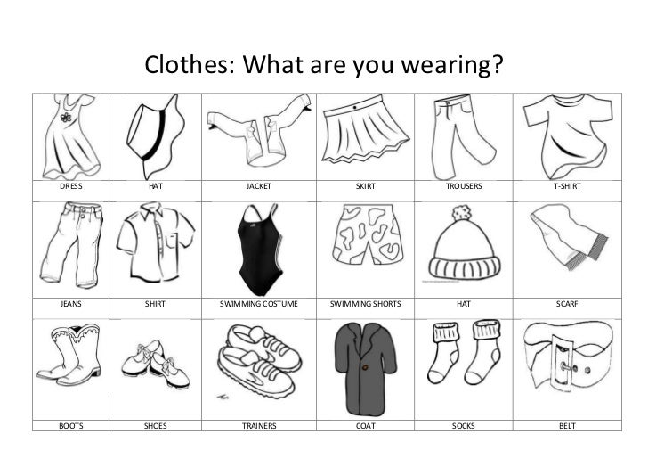 Clothes: What are you wearing?DRESS   HAT          JACKET             SKIRT        TROUSERS   T-SHIRTJEANS   SHIRT   SWIMM...