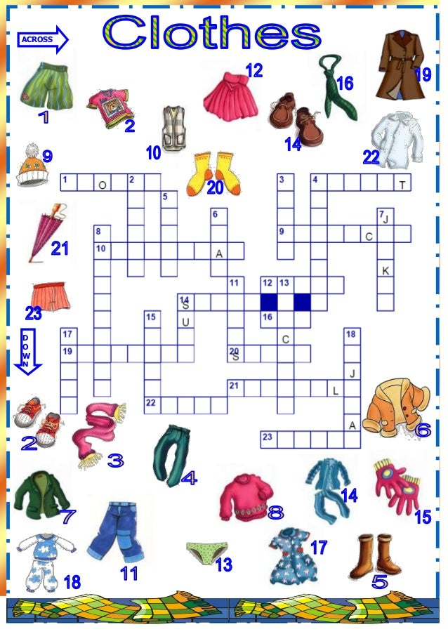 Clothes crossword-