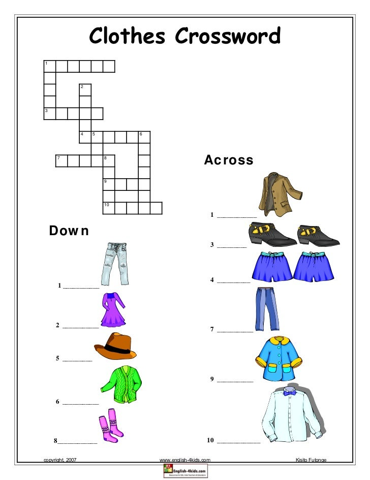 Clothes Crossword1                  23                  4   5        6      7                   8                         ...