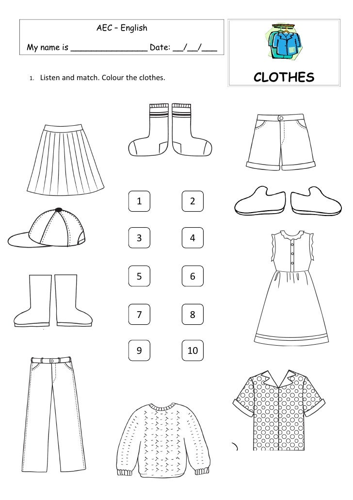 AEC – English  My name is _______________ Date: __/__/___                                                     CLOTHES     ...