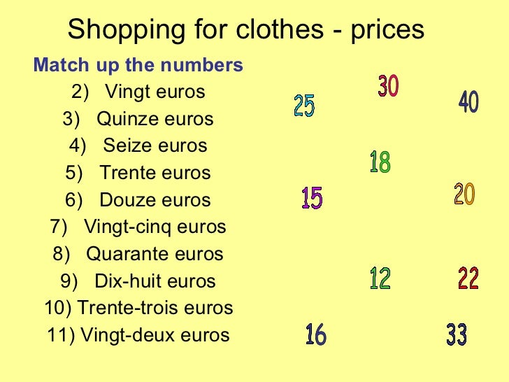Shopping for clothes - prices <ul><li>Match up the numbers </li></ul><ul><li>Vingt euros </li></ul><ul><li>Quinze euros </...