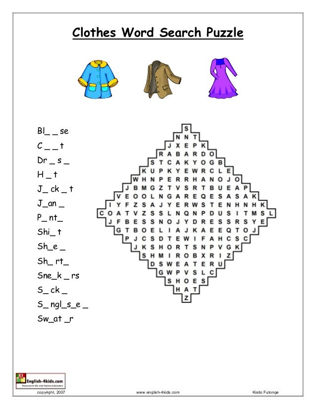 Clothes Word Search Puzzle Bl Se C T Dr S H