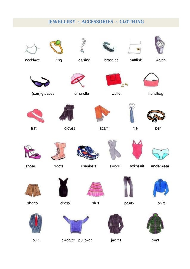 Accessories Vocabulary Word List (260)