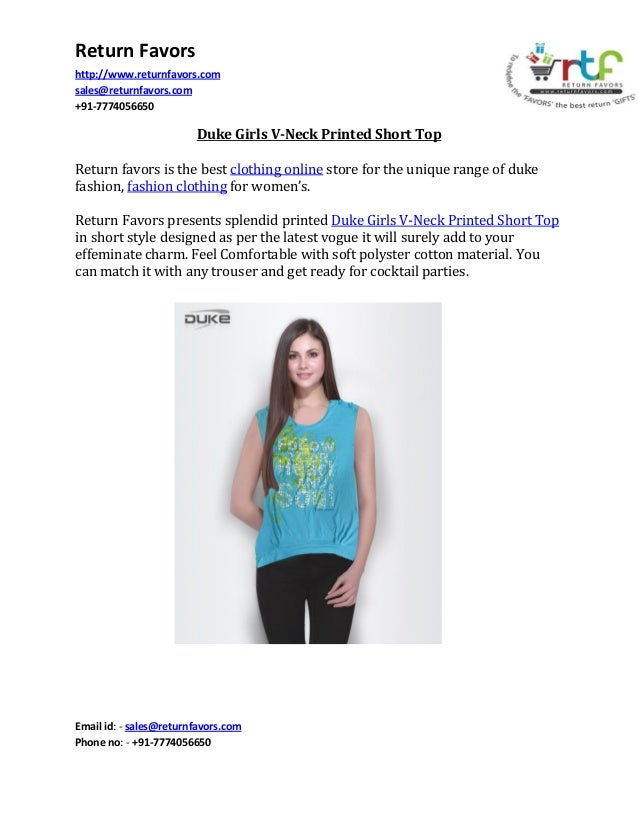 Return Favors http://www.returnfavors.com sales@returnfavors.com +91-7774056650  Duke Girls V-Neck Printed Short Top Retur...