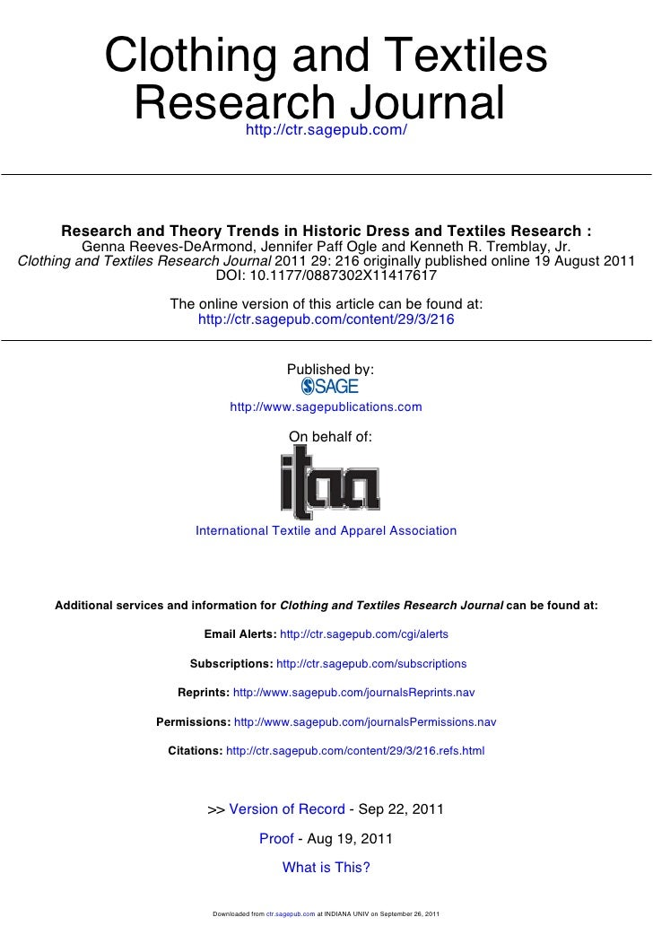 Clothing and Textiles              Research Journal           http://ctr.sagepub.com/      Research and Theory Trends in H...