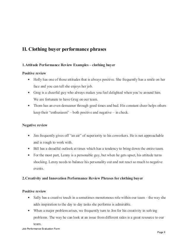 Clothing buyer performance appraisal