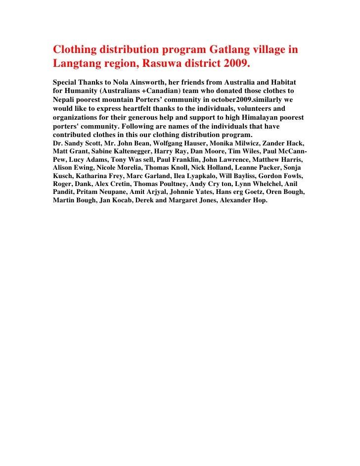 Clothing distribution program Gatlang village inLangtang region, Rasuwa district 2009.Special Thanks to Nola Ainsworth, he...