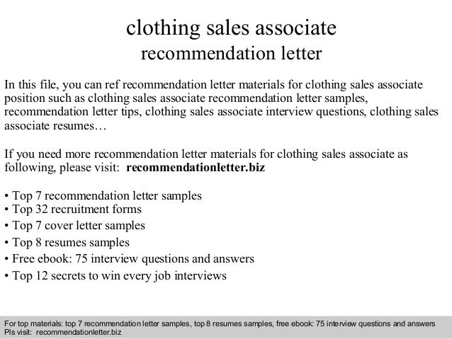 interview questions and answers free download pdf and ppt file clothing sales associate recommendation - Clothing Sales Resume