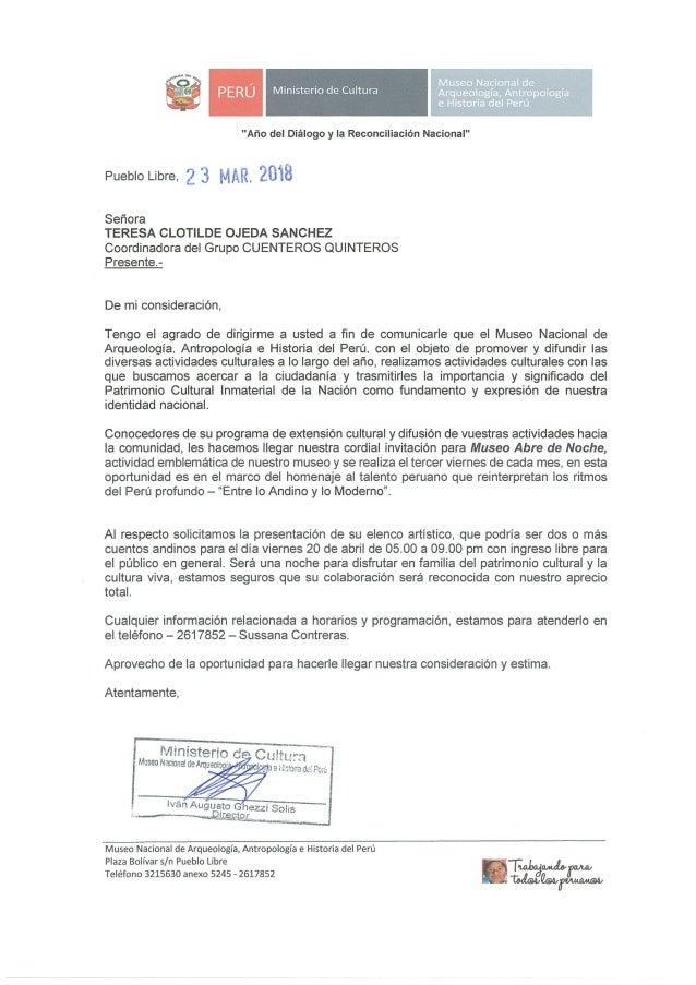 Invitación a Cuenteros Quinteros para el 20.abr.18 en Museo Abre de Noche  del Museo Nacional de Arqueología, Antropología...