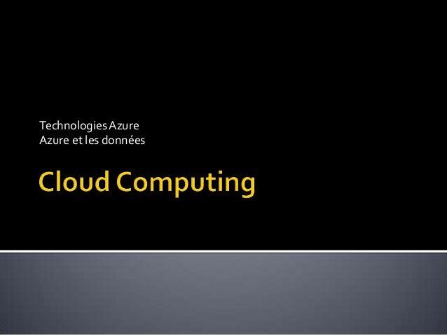 Technologies AzureAzure et les données