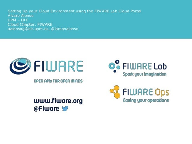 Setting Up your Cloud Environment using the FIWARE Lab Cloud Portal Álvaro Alonso UPM – DIT Cloud Chapter. FIWARE aalonsog...