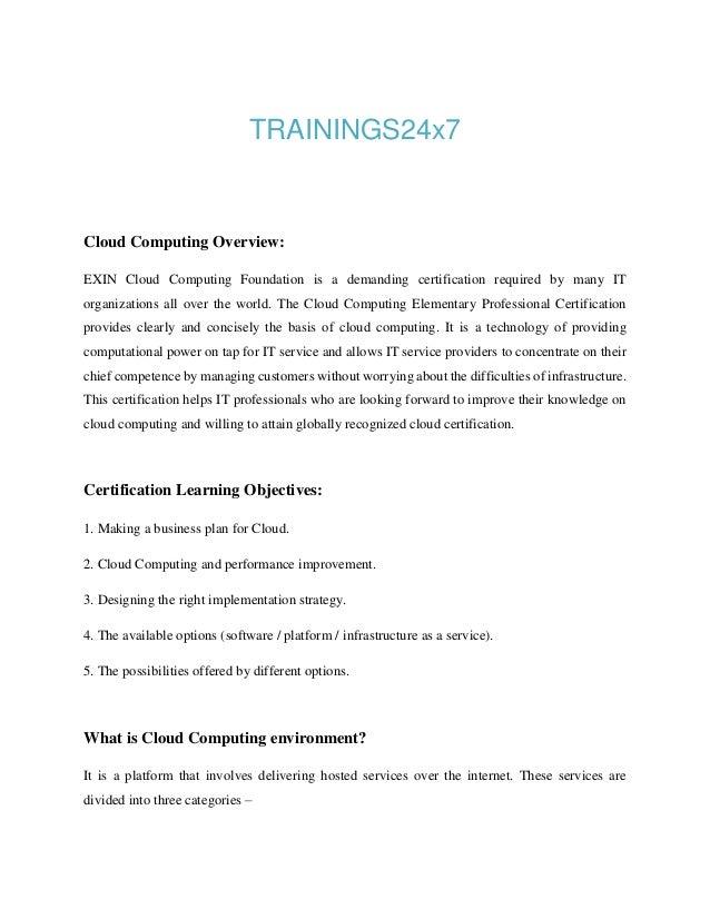 exin cloud computing foundation workbook Study materials for sitting the exin cloud computing foundation exam.